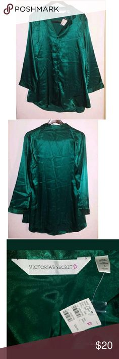 New Victoria's Secret Sz Large Green Pajama Shirt New with Tag Victoria's Secret Women's Size: Large Pajama Shirt Only (No pants) 100% Polyester Green Button-Front Long Sleeve Victoria's Secret Intimates & Sleepwear Pajamas