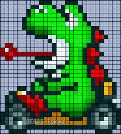 Yoshi - Mario Kart Perler Bead Pattern - BEADS.Tokyo