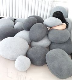 Set of 6 Pebble Stone Pillows - Beige or grey stone. Rock like bean bag cushion lounge sack on Etsy, $101.40 CAD