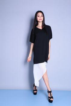 Irregular Insert Hem Dress (Black/White) SGD$ 38.00