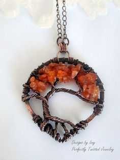 Wire Wrapped Tree Pendant, Tree of Life Necklace, Carnelian, Bonsai, Handmade, Antiqued Copper, Wire Tree Jewelry