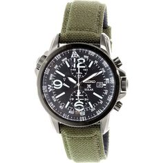 Seiko Men's SSC295 Olive Nylon Quartz Watch