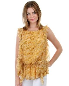 Floral Chiffon cinched waist blouse with ruffle sides - find this lovely look and much more at Clothing Showroom!