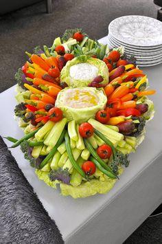 Vegetable Crudites Platter w/ Hummus & Vegan Dilly Dip