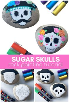 Learn how to make these beautiful sugar skull painted rock using paint pens. Follow the step-by-step rock painting tutorial. This is a great Day of the Dead craft.