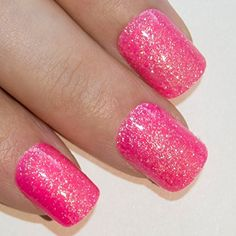 From 6.49 Bling Art False Nails French Manicure Pink Fuschia Gel Glitter Medium 24 Tips Uk
