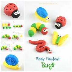 How to make easy fondant bug cake toppers for decorating cakes and cupcakes - Eats Amazing UK