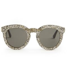 8cc9c5fcab Saint Laurent Round-frame glitter sunglasses ( 345) ❤ liked on Polyvore  featuring accessories