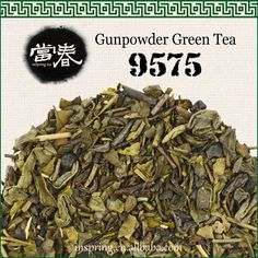 "Gunpowder green tea 9575 Also known as ""pearl"" tea, Gunpowder is only produced in the Zhejiang province. These tightly rolled balls of leaves resemble gunpowder pellets, which allow them to be kept longer than other teas. By the end of the seventeenth century, it has become a popular choice of tea in England, North America, Russia, France and Africa. With its durable aftertaste, strong flavor and a general mellow taste, it is also called ""green pearls""."