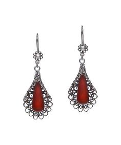 Loving this Carnelian & Sterling Silver Blossoming Love Flower Drop Earrings on #zulily! #zulilyfinds