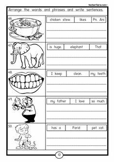 Learning Sentences... Esl Worksheets For Beginners, Worksheets For Grade 3, English Grammar Worksheets, Reading Worksheets, School Worksheets, Reading Activities, Grade 1 English, Kids English, English Lessons
