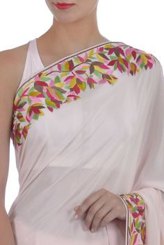 Eid 2017 Collection: Nude Pink Parsi Gara Hand Embroidered Pure Crepe Saree