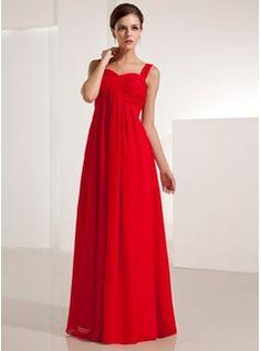 Império Coração Chá comprimento Chiffon Vestido de festa com Pregueado (017021123) - JJsHouse