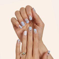 Cute Simple Nails, Cute Gel Nails, Chic Nails, Cute Acrylic Nails, Stylish Nails, Pretty Nails, Easy Nails, Blue And White Nails, Nail Art Blue
