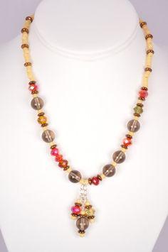 16 Inch Necklace Smoky Quartz Red Sparkly Glass by FiveLeavesFound, $46.00