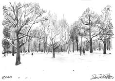 """Sketches """"Snow in hyde park"""" 