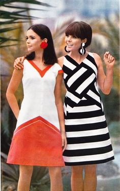 Dorothee Bis, 1960s fashion, red + white dress and black + white striped dress