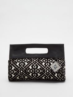 black + white geo clutch.