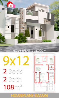 Design layout House Design with 2 Bedrooms full plans - House Plans Small Modern House Plans, Simple House Plans, Simple House Design, House Front Design, Dream House Plans, Modern House Design, Dream Houses, House Construction Plan, Three Bedroom House Plan