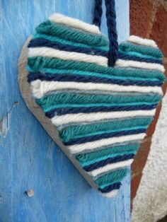 Wood and teal,duck-egg and cream hanging heart. 12cm x 12cm