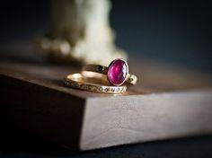 Ruby Ring with blue diamonds by VenaAmorisJewelry on Etsy