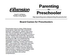Using board games for preschoolers