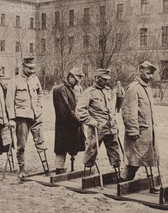"The photo from the ""Leipziger Illustrirte Zeitung"" (Leipzig Illustrated Newspaper) shows soldiers who have lost their legs in World War One (1914-1918) at a walking school for the war injured at the First War Hospital in Budapest, Hungary. After initial treatment at the military hospital on the front, the wounded were transported on medical trains back to their homeland, where they received further treatment."