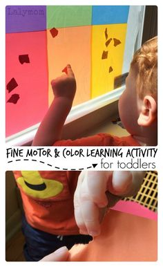 Simple Fine Motor Skills and Color Learning Activity for Toddlers. Toddlers will enjoy this interactive activity that will help them learn their colors! Fine Motor fun that will keep your child's attention. Fine Motor Activities For Kids, Motor Skills Activities, Toddler Learning Activities, Interactive Activities, Color Activities, Infant Activities, Educational Activities, Fun Learning, Childcare Activities