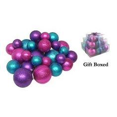 Pack of 27 Shatterproof Fuschia, Purple & Turquoise Christmas Ball Ornaments