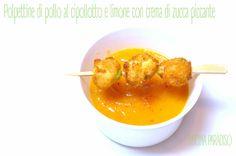 Polpettine di pollo al cipollotto e limone con crema di zucca  piccante #cucinaparadiso #polpette #meatballs #pollo #chicken #limone #cipollotto #paprika #lemonzest #springonion #zucca #hot #pumpkin