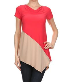 Another great find on #zulily! Coral & Beige Color Block Asymmetrical Top by One Fashion #zulilyfinds