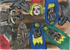 Peter Ammon: Eine Weihnachtskarte aus dem Blickwinkel des Kindleins... Outsider Art, The Outsiders, Painting, Xmas Cards, Random Stuff, Kids, Painting Art, Paintings, Painted Canvas
