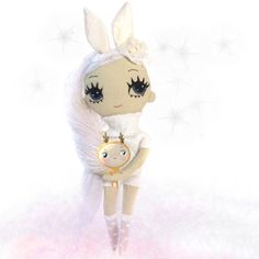 Bunny hugs are the best hugs. Fabric doll by Dollcloud