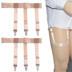 Men's Suspenders New Hot Mens Shirt Stays Holder Garters Belt Suspender Braces Leg Thigh Elastic Tirantes 1pair Flesh Color Shirt Suspender Suitable For Men And Women Of All Ages In All Seasons Men's Accessories