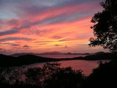 Sunset view from The Hawks Nest at St. John House Rentals.