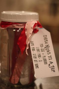 Date night jar - nice idea for guests to suggest dates