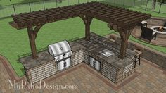 Download plan to build this beautiful outdoor kitchen with cedar pergola, attached bar and ice cooler. Includes layout, how-to's and itemized material list.