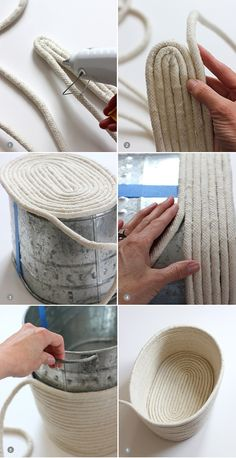 DIY un panier en corde. No-Sew Rope Basket / alice & loisDIY No-Sew Rope Basket / alice & lois. I love the look of this but would sew it after gluing it.DIY No-Sew Rope Basket / alice & lois by Nancy Oberlin Could paint it to match furniture tooDIY y Rope Basket, Basket Weaving, Basket Bag, Rope Crafts, Diy And Crafts, Creation Deco, Diy Home Decor On A Budget, Diy Projects On A Budget, Budget Crafts