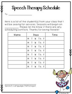 Use this form at the beginning of the school year to let teachers know when their students have been scheduled for services. An additional Intervention page has been added to this download on 01/11/2017. Hopefully it will help make the beginning of the school year