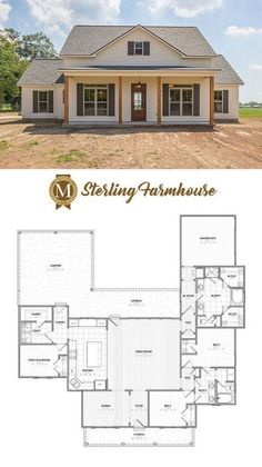 31 Farmhouse House Plans – Farmhouse Room (bedroom instead of dining room and actual garage) Farmhouse Layout, Farmhouse Floor Plans, Country House Plans, New House Plans, Dream House Plans, Small House Plans, Dream Houses, Modern Farmhouse, Farmhouse Style