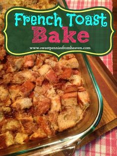 This French Toast Bake is full of brown sugar and cinnamon. Soft on the inside and sweet and crunchy on the outside. Seriously the best stuff I've ever had!! Love it with powdered sugar and warm maple syrup. Also great with fresh fruit and whipped cream. Easy peasy breakfast casserole!