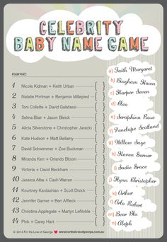 For The Love Of George » Celebrity Baby Name Game