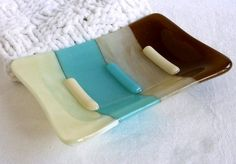 Glass Soap Dish in Turquoise French Vanilla and by bprdesigns,