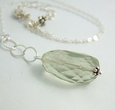 Necklace with a Large Green Quartz Nugget on Two by jewelrybyroz