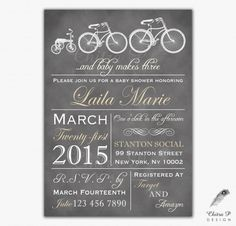 Items similar to Bicycle Baby Shower Invitation - Printed, Makes Three Typography Invite Grey Rustic Couples Vintage Tricycle Chalkboard Bike Tan White on Etsy Baby Shower Invitations, Birthday Invitations, Twin Baby Girls, Baby Boy Shower, Baby Showers, Baby Shower Themes, Shower Ideas, Engagement Invitations, Rustic Baby