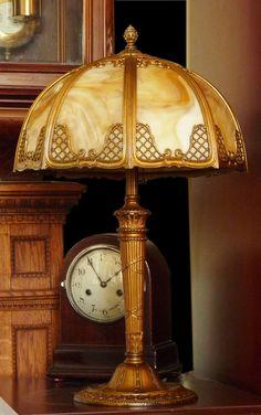 Antique Art Nouveau 8 Panel Slag Glass Lamp