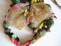Handmade Paper Beaded  Green Necklace fabric butterfly by seragun