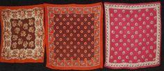 Two silk: One cream, magenta and black floral, 33 x (small black spots). One cream, brown, black and red having d. on Oct 2014 Vintage Bandana, Silk Bandana, Black Spot, Printed Cotton, Magenta, Paisley, Auction, Dots, Quilts