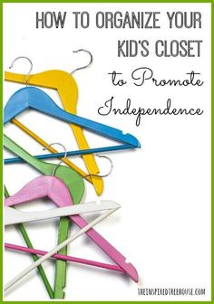 Four ways to promote independence and participation by helping kids be able to dress themselves with a closet organization system.