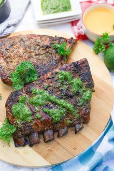 Cuban Mojo Marinated Pork Ribs + Chimichurri - Bless Her Heart Y'all Beef Ribs Recipe, Pork Rib Recipes, Grilling Recipes, Meat Recipes, Cooking Recipes, Grilling Tips, Paleo Recipes, Free Recipes, Recipies
